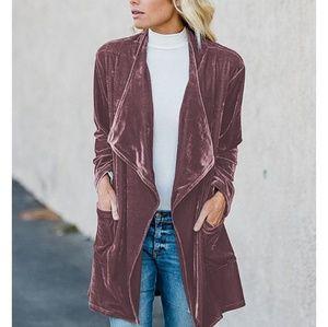 Jackets & Blazers - COMING SOON! (L&XL) Mauve Velvet Draped Jacket